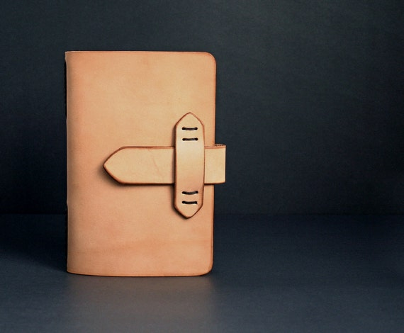 Natural Leather Journal Refillable with Strap Closure and Free Monogramming