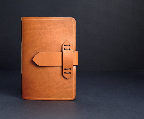 Leather Journal Refillable with Strap Closure in Tan with Free Monogramming