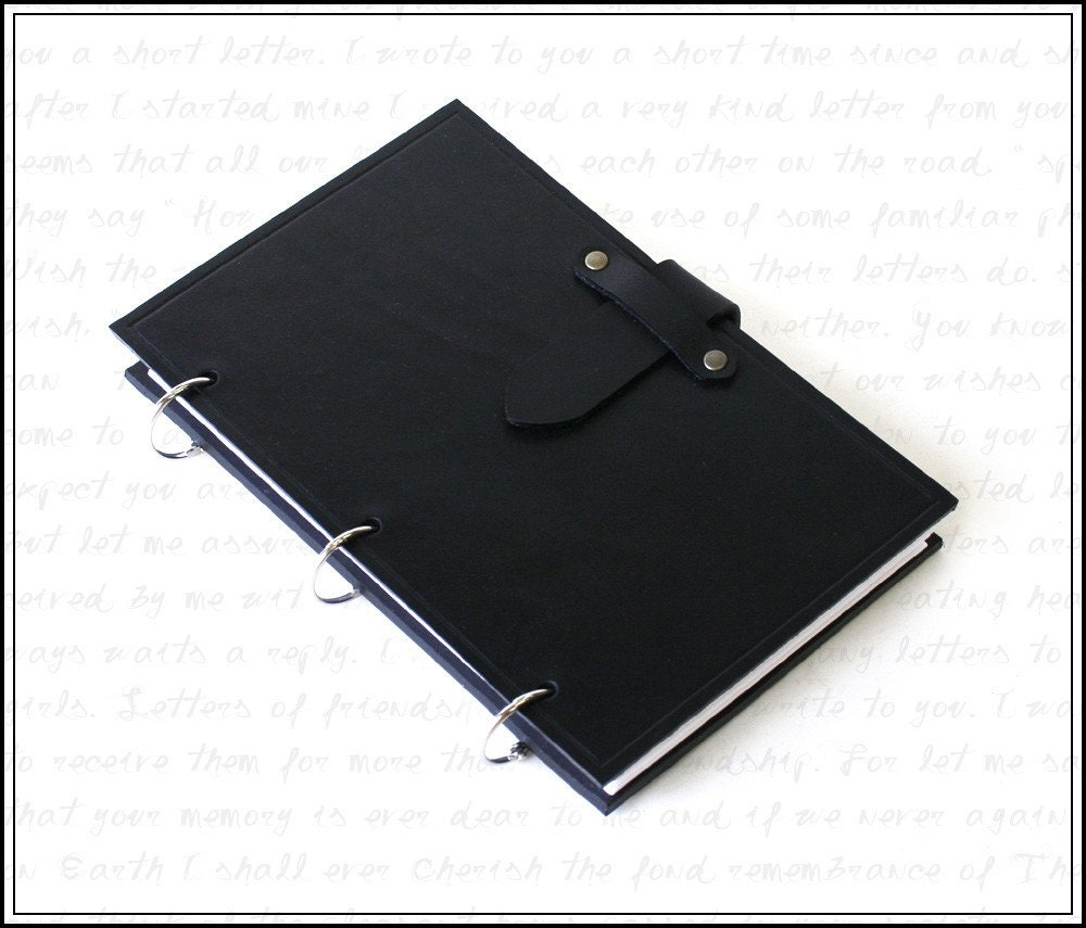 Black Leather Ring Notebook Binder For 5 X 8 Index Cards With