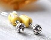 Earrings - yellow howlite - sterling silver - beaded barrel
