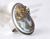 Ring - Ocean Jasper - sterling silver - 14 kt gold  - size 6 - ooak