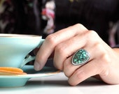 Natural turquoise ring - 14 kt gold - size 6 - triangle - untreated