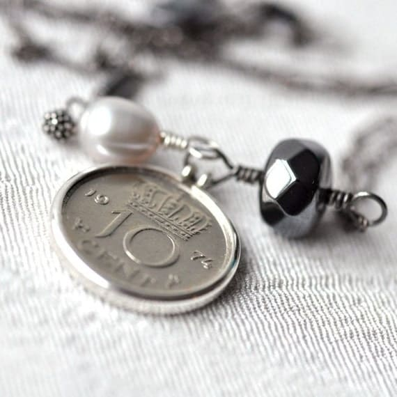 SALE - Necklace - Dutch guilder dime - Hematite and pearl - Sterling silver