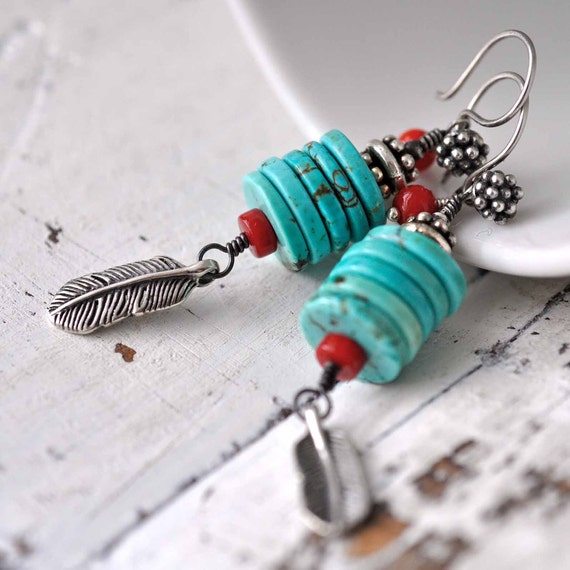 Sterling silver beaded earrings - stacked turquoise discs - red coral - oxidized - feather charms - blue red