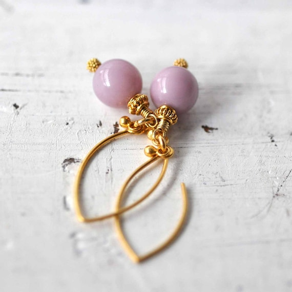Beaded earrings - Lilac glass beads - gold plated