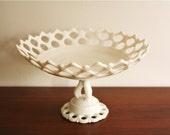 Westmoreland milk glass lattice serving pedestal