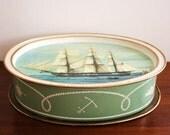 Large Bicentennial aqua blue ship tin with lid