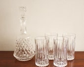 Vintage set of 4 glasses and crystal decanter with finial topper