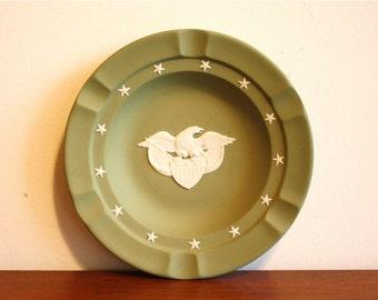 Vintage Wedgwood green Jasperware dish, ashtray