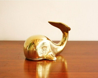Vintage brass whale paperweight