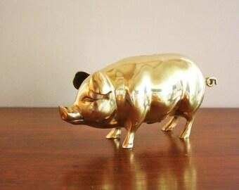 Large vintage brass pig coin bank