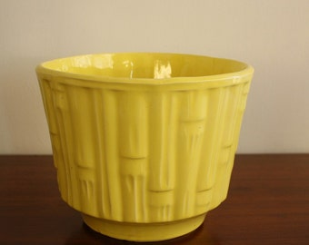 Vintage McCoy yellow faux bamboo planter