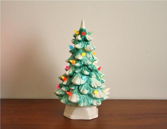 Vintage 1960s Snowy Ceramic Christmas Tree Electric
