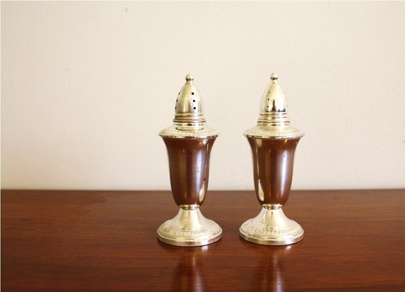 Vintage Crown sterling weighted silver salt and pepper shakers