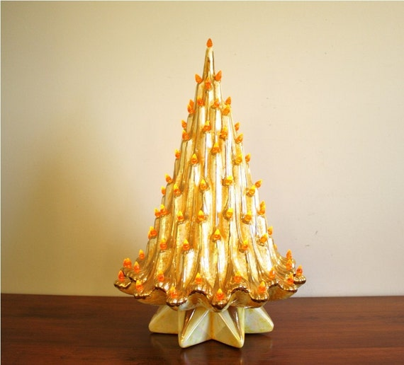 Vintage 1950s Ceramic Christmas Tree Gold Art Deco Electric
