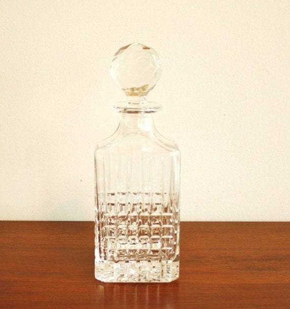 Tiffany and Company, Plaid leaded crystal decanter with finial topper