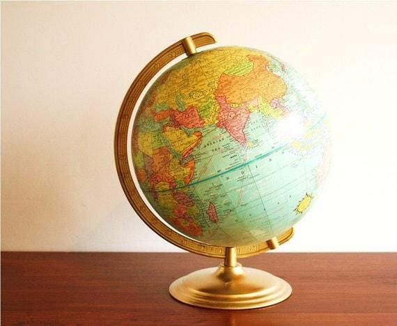 1970s vintage globe with metal base