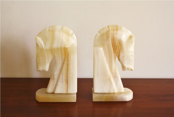 Large pair of solid marble horse head bookends