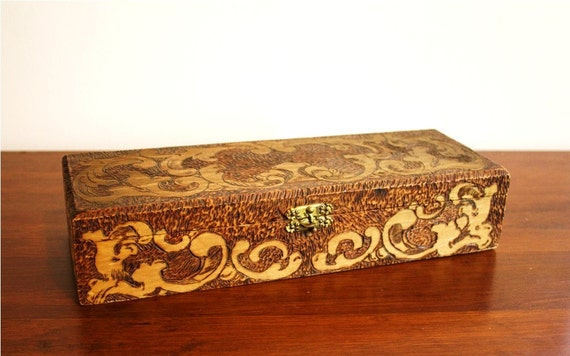 1907 Antique carved wooden box, Flemish 681 Art