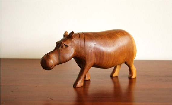 Vintage wooden hippo figure, carved wood