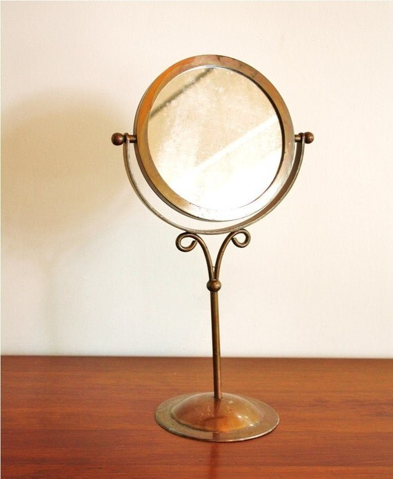 Tall Vintage Brass Vanity Mirror Double Sided By