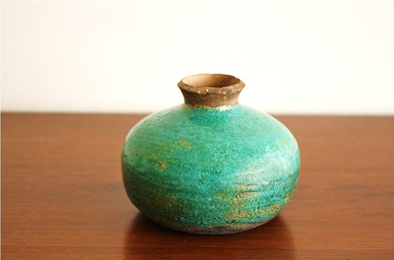 Vintage handmade turquoise ceramic vase