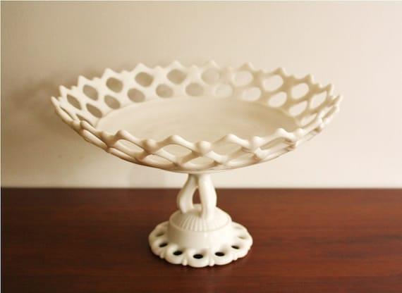 1940s Westmoreland milk glass lattice pedestal bowl