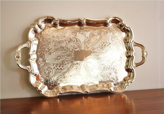 Large Vintage Silver Serving Tray With Handles By Fb Rogers