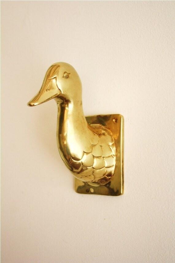 Vintage brass duck head wall mounted hook