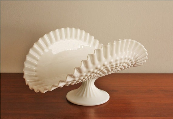 Hobnail Folded Milk Glass Pedestal Bowl With By
