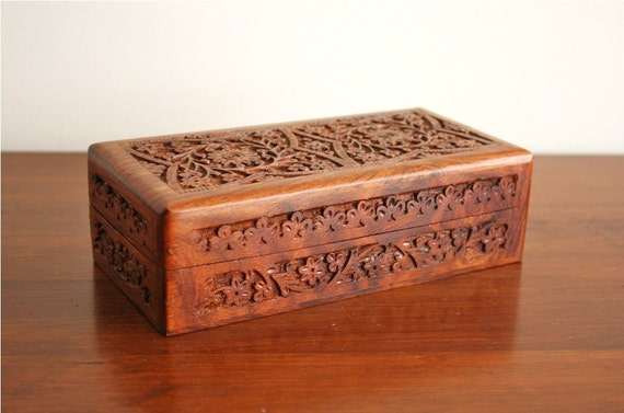 Vintage Carved Wooden Box With Lid