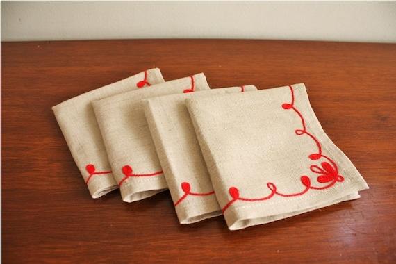 Vintage set of 4 red hand embroidered linen cocktail napkins