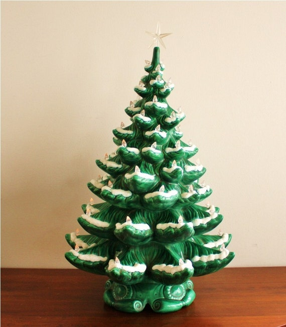 Large Vintage 1960s Ceramic Christmas Tree Electric
