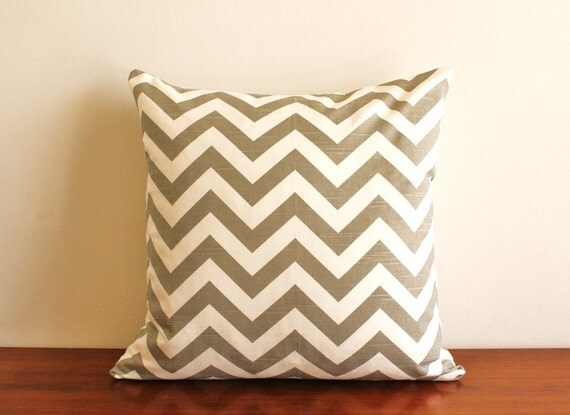 Custom made Zig Zag throw pillow 18 x 18 with down insert, grey and white