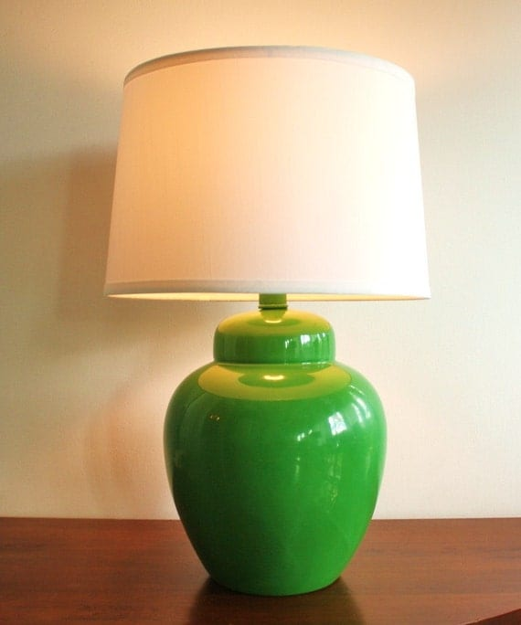 Vintage Green Ceramic Ginger Jar Table Lamp With Lampshade