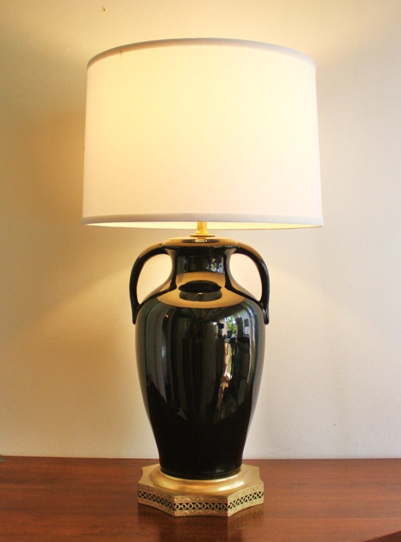 large black ceramic and brass table lamp by highstreetmarket. Black Bedroom Furniture Sets. Home Design Ideas