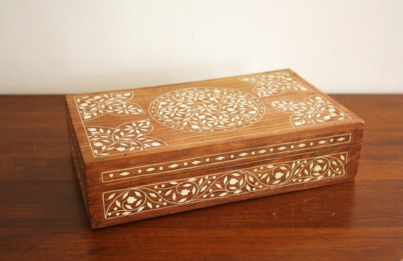 Large vintage carved wooden box with bone inlay