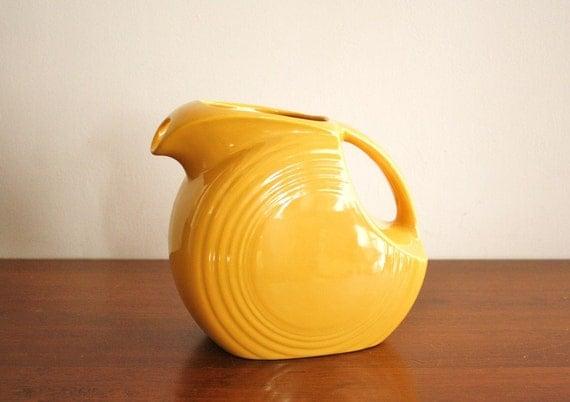 RESERVED - 1930s Vintage Gold glazed Fiestware pitcher