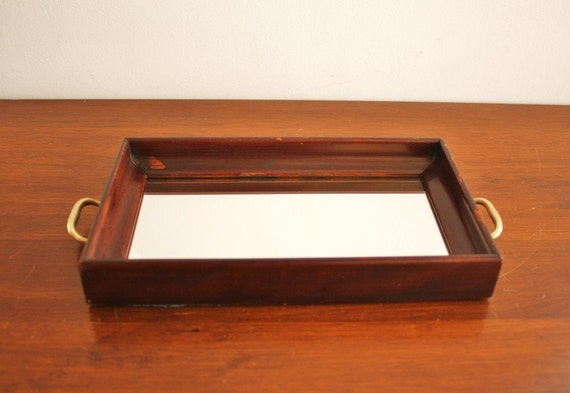 Vintage mirrored vanity tray with wooden frame