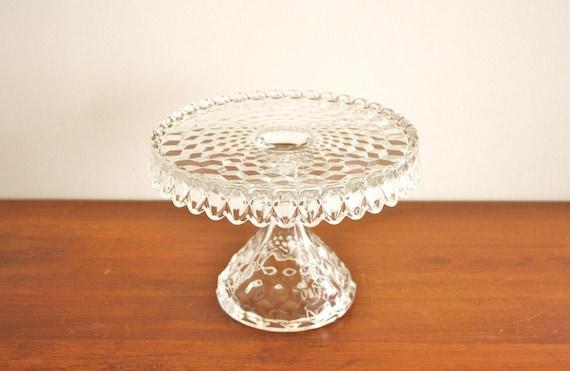 American Fostoria round glass cake pedestal, vintage crystal