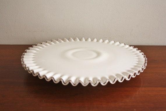Large Silvercrest Fenton milk glass ruffled cake plate, pedestal