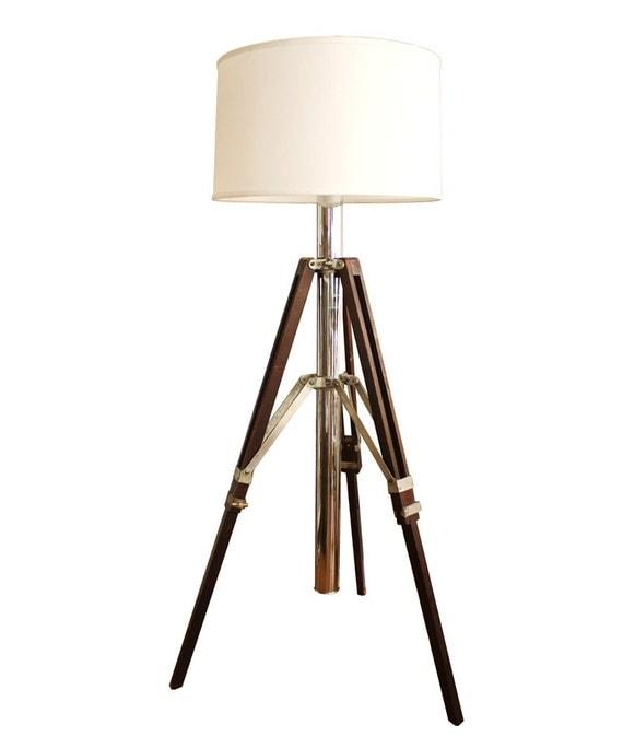 Vintage wood and polished chrome tripod floor lamp