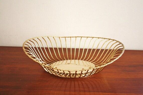 Modern brass round wire basket or fruit bowl