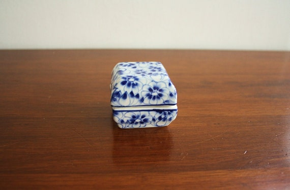 Vintage blue and white ceramic box with lid