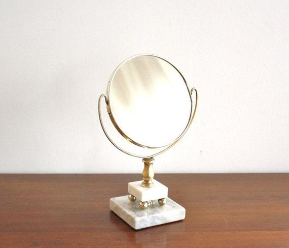 Vintage standing brass and marble vanity mirror