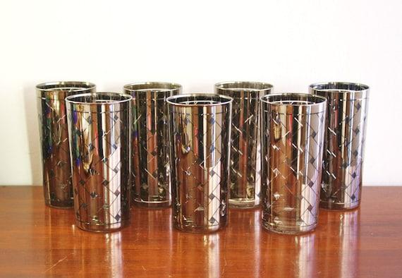 Vintage set of 6 silver highball glasses