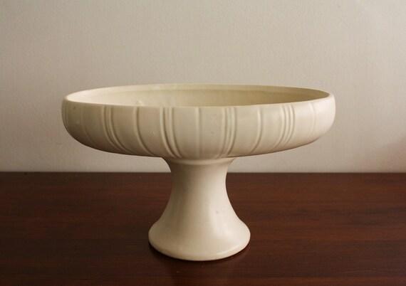 Vintage Floraline White Ceramic Pedestal Bowl