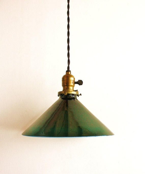 Antique Green Glass Pendant Light Fixture