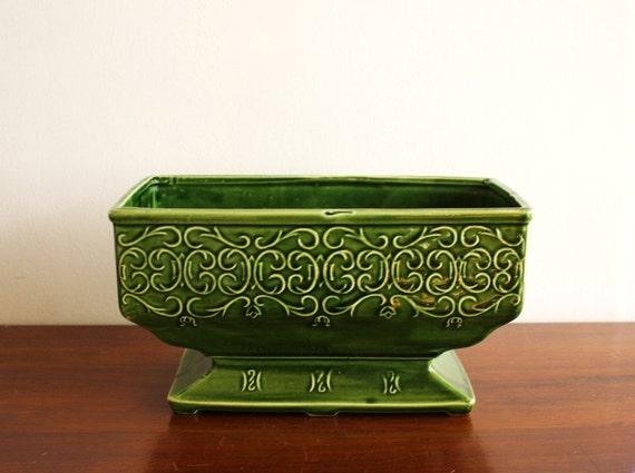 Vintage green rectangular ceramic planter, McCoy