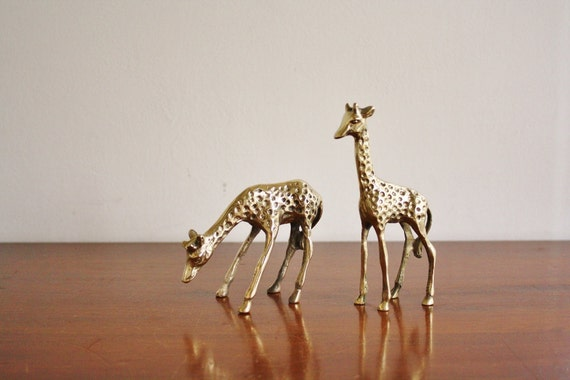 Vintage pair of brass giraffes